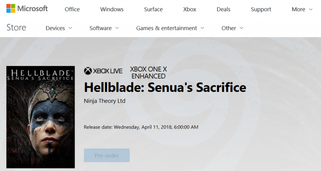 Hellblade: Senua's Sacrifice coming to Xbox One on April 11